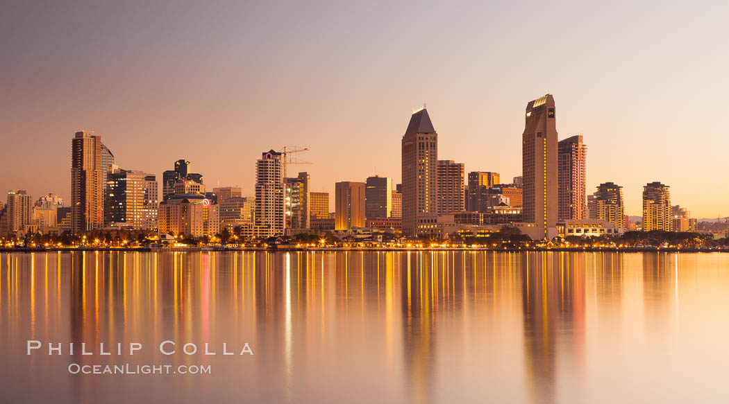 San Diego downtown city skyline and waterfront, sunrise, dawn, viewed from Coronado Island. San Diego, California, USA, natural history stock photograph, photo id 27091