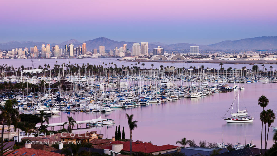 San Diego harbor and skyline, viewed at sunset