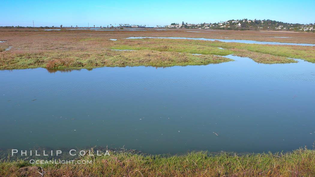 San Elijo lagoon at high tide, looking from the south shore north west, San Elijo Lagoon, Encinitas, California