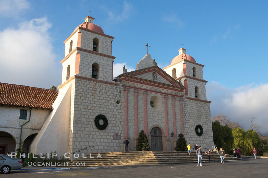 The Santa Barbara Mission.  Established in 1786, Mission Santa Barbara was the tenth of the California missions to be founded by the Spanish Franciscans.  Santa Barbara. Santa Barbara Mission, Santa Barbara, California, USA, natural history stock photograph, photo id 14885