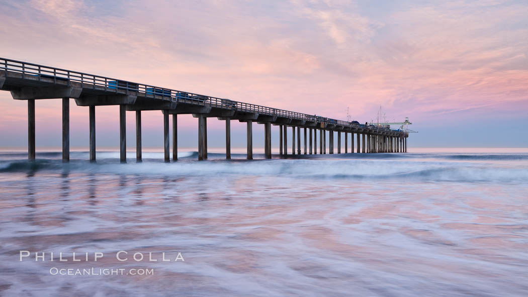 Scripps Pier, sunrise. Scripps Institution of Oceanography, La Jolla, California, USA, natural history stock photograph, photo id 26432
