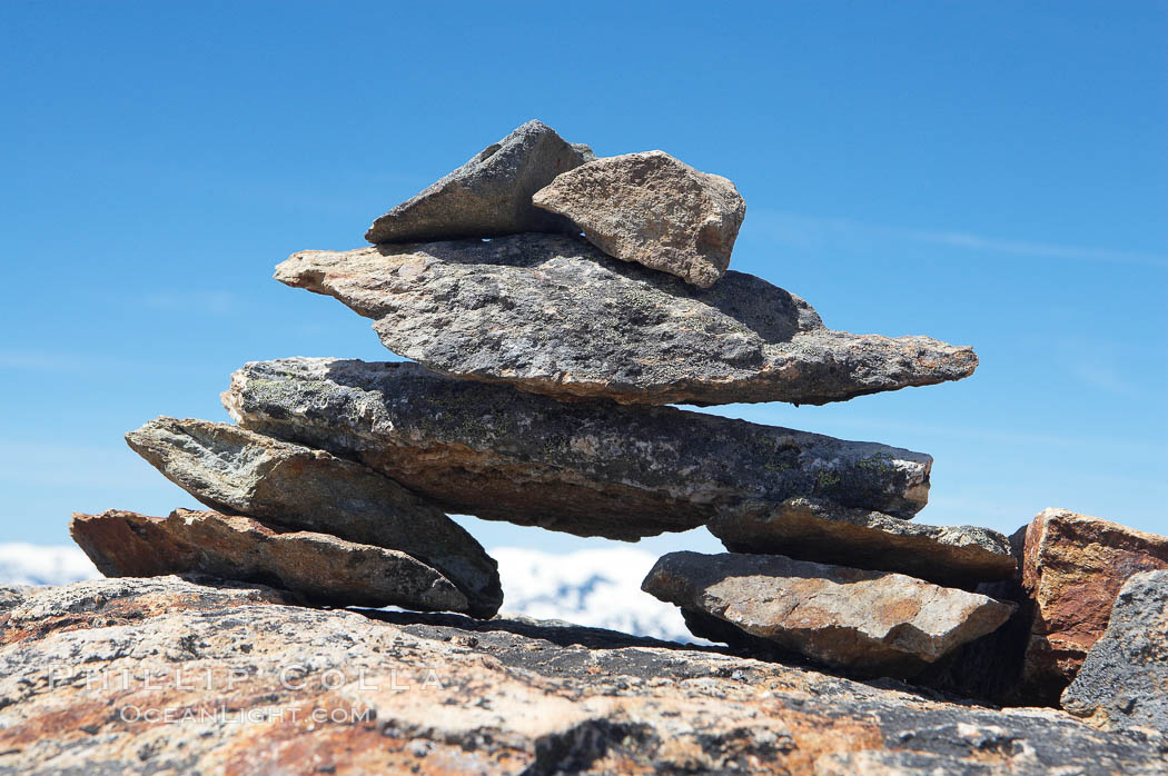 A small cairn of stones at the top of Whistler Mountain. British Columbia, Canada, natural history stock photograph, photo id 21011