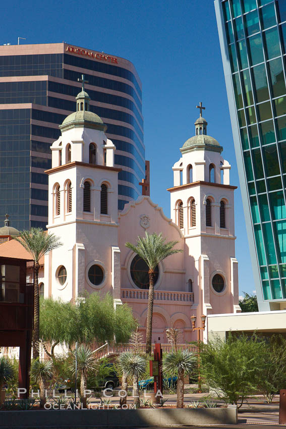 St. Mary's Basilica, in downtown Phoenix adjacent to the Phoenix Convention Center.  The Church of the Immaculate Conception of the Blessed Virgin Mary, founded in 1881, built in 1914, elevated to a minor basilica by Pope John Paul II in 1987. Phoenix, Arizona, USA, natural history stock photograph, photo id 23176