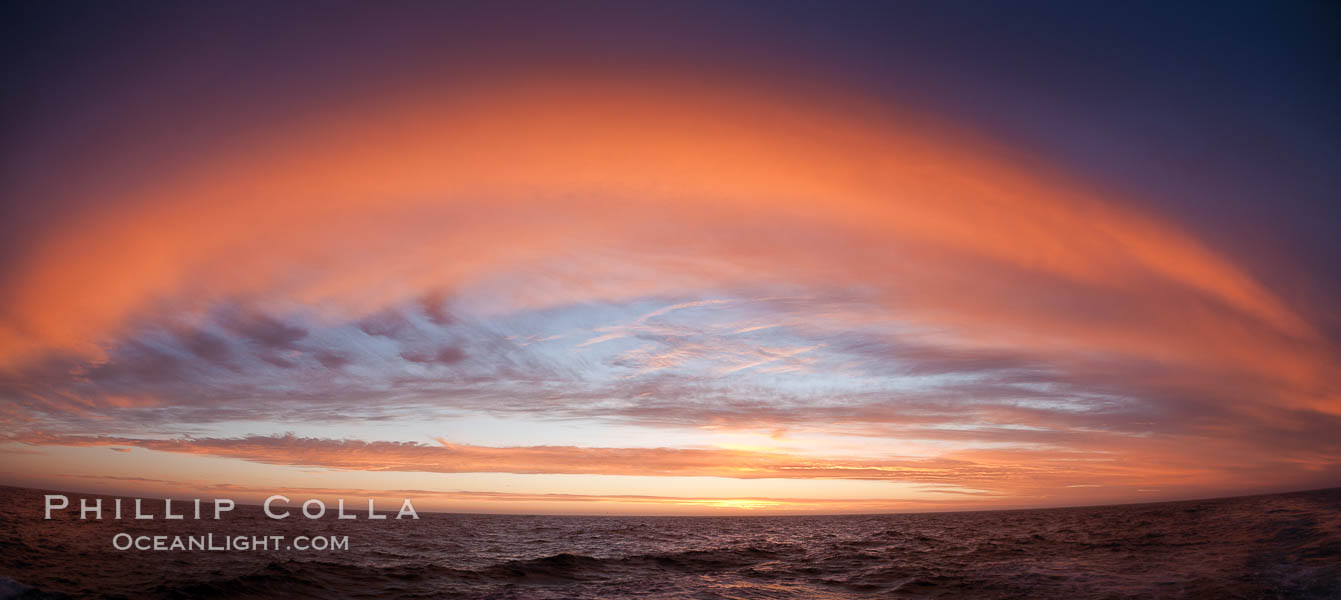 Sunset clouds create a colorful arch, spanning the heavens from horizon to horizon, over the open sea between the Falkland Islands and South Georgia Island. Southern Ocean, natural history stock photograph, photo id 24073
