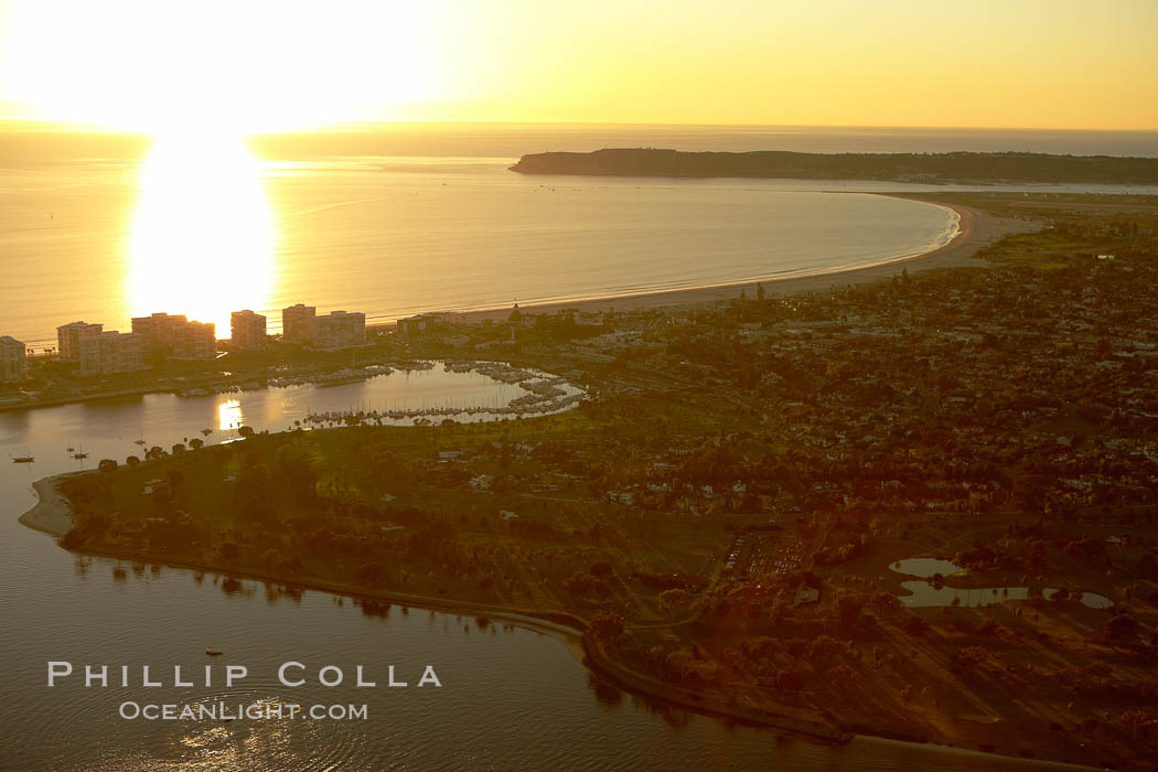 Sunset over Coronado Island and Point Loma, San Diego, California