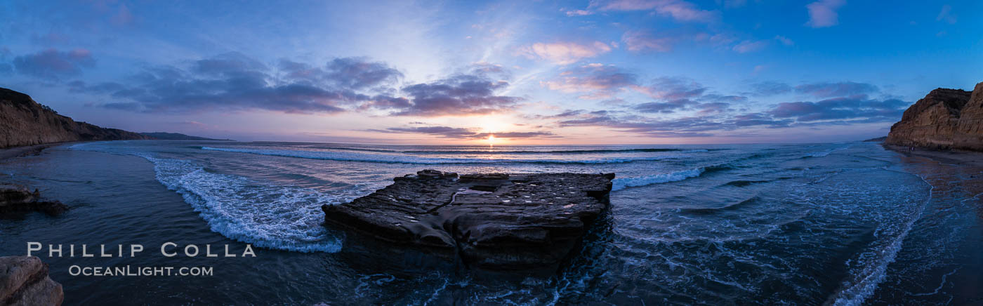 Sunset over Flat Rock on Torrey Pines State Beach. Torrey Pines State Reserve, San Diego, California, USA, natural history stock photograph, photo id 29105