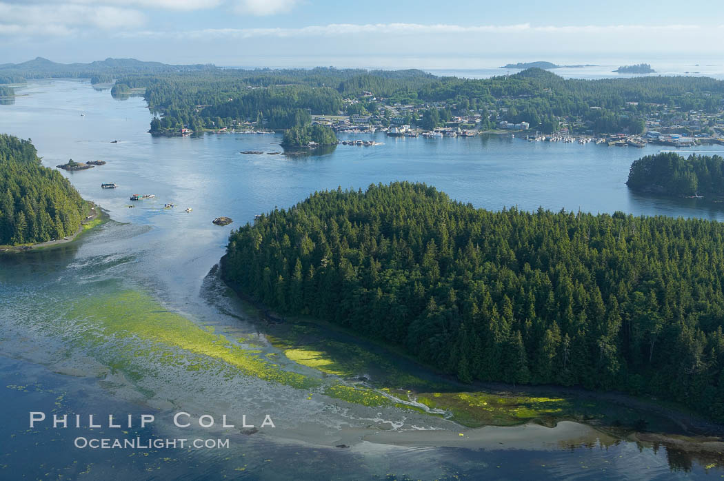 Image 21096, Lemmens Inlet viewed from Meares Island, with Tofino in the distance, aerial photo, on the west coast of Vancouver Island. Tofino, British Columbia, Canada