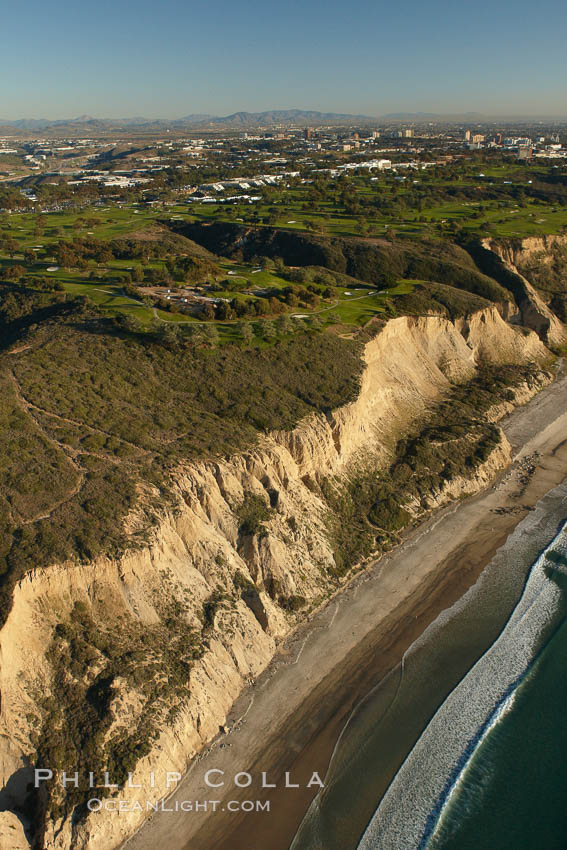 Torrey Pines golf course, situated atop the magnificent 300 foot tall seacliffs, offers majestic views of the Pacific Ocean south to La Jolla.  Scattered around the course are found Torrey pine trees, one of the rare species of pines in the world.  Some of La Jolla's biotechnology companies are seen on the far side of the golf course, along North Torrey Pines Road.,  Copyright Phillip Colla, image #22320, all rights reserved worldwide.