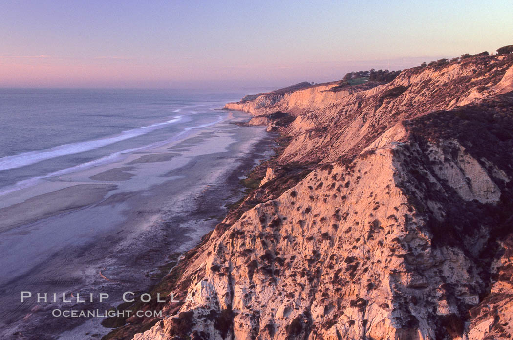 Sea cliffs at Torrey Pines State Park, viewed from Indian trail head. Torrey Pines State Reserve, San Diego, California, USA, natural history stock photograph, photo id 05543