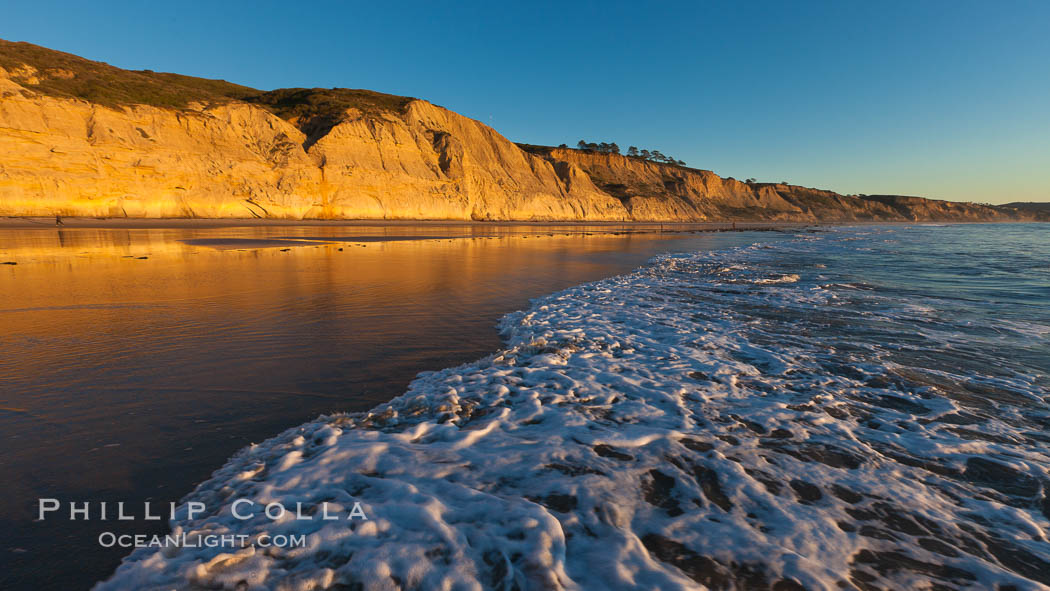 Torrey Pines State Beach, sandstone cliffs rise above the beach at Torrey Pines State Reserve. Torrey Pines State Reserve, San Diego, California, USA, natural history stock photograph, photo id 27255