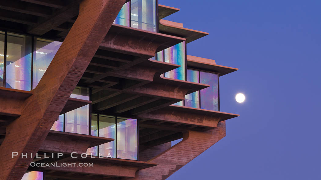 UCSD Library glows at sunset (Geisel Library, UCSD Central Library). University of California, San Diego, San Diego, California, USA, natural history stock photograph, photo id 26909