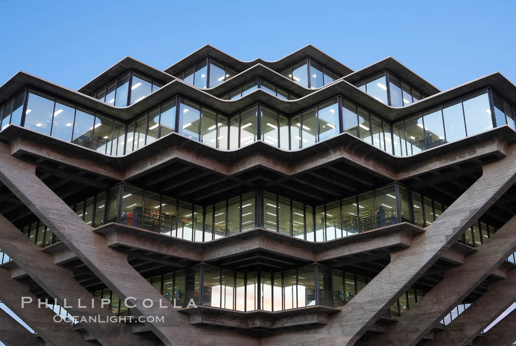 UCSD Library glows with light in this night time exposure (Geisel Library, UCSD Central Library). University of California, San Diego, La Jolla, USA, natural history stock photograph, photo id 20184