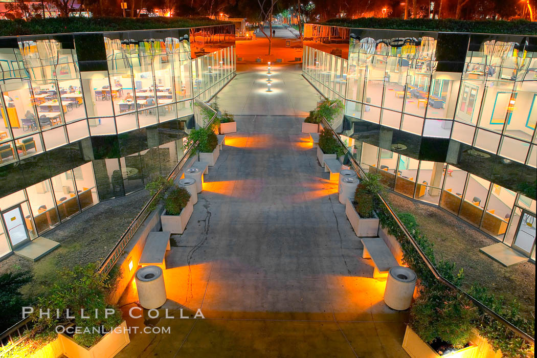 UCSD Library glows with light in this night time exposure (Geisel Library, UCSD Central Library).,  Copyright Phillip Colla, image #20145, all rights reserved worldwide.