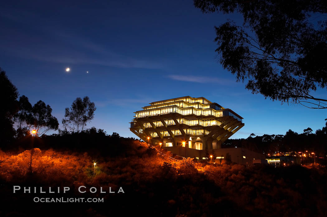 UCSD Library glows at sunset (Geisel Library, UCSD Central Library).,  Copyright Phillip Colla, image #14783, all rights reserved worldwide.