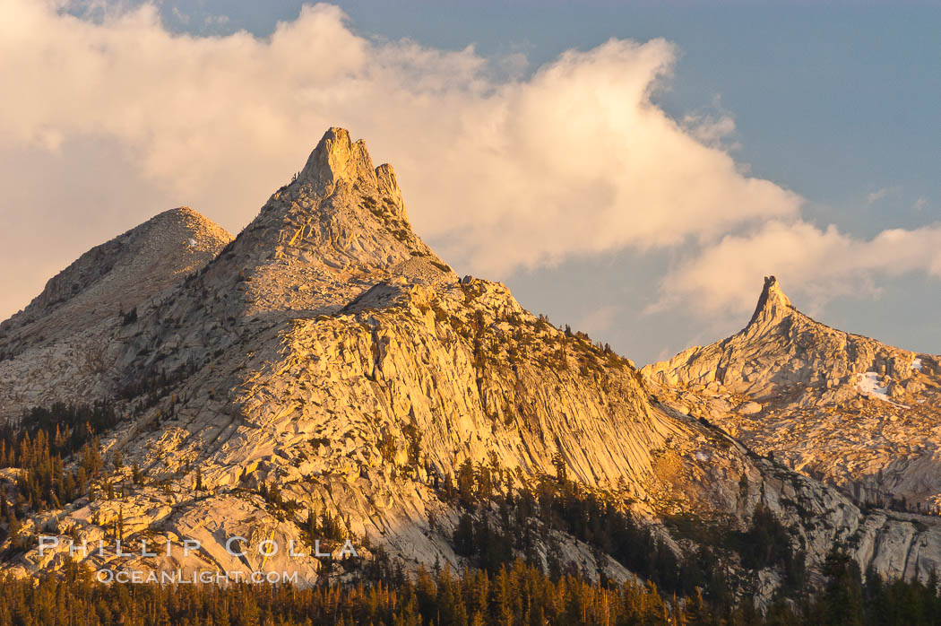 Unicorn Peak at sunset, seen from Tuolumne Meadows.  Cockscomb Peak rises in the distance. Tuolumne Meadows, Yosemite National Park, California, USA, natural history stock photograph, photo id 09945