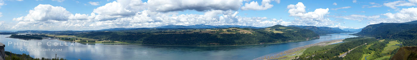 Panoramic view of the Columbia River as it flows through Columbia River Gorge Scenic Area, looking east from the Vista House overlook on the southern Oregon side of the river, Columbia River Gorge National Scenic Area