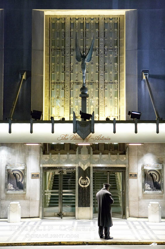 Lonely doorman at the Hotel Waldorf Astoria. Manhattan, New York City, New York, USA, natural history stock photograph, photo id 11182