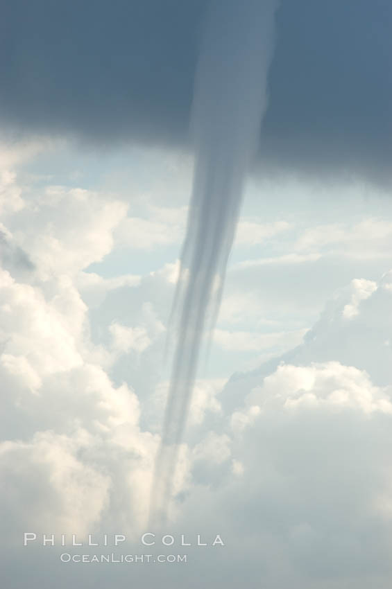 The mature vortex of a ocean waterspout, seen against cumulus clouds in the background.  Waterspouts are tornadoes that form over water.,  Copyright Phillip Colla, image #10846, all rights reserved worldwide.
