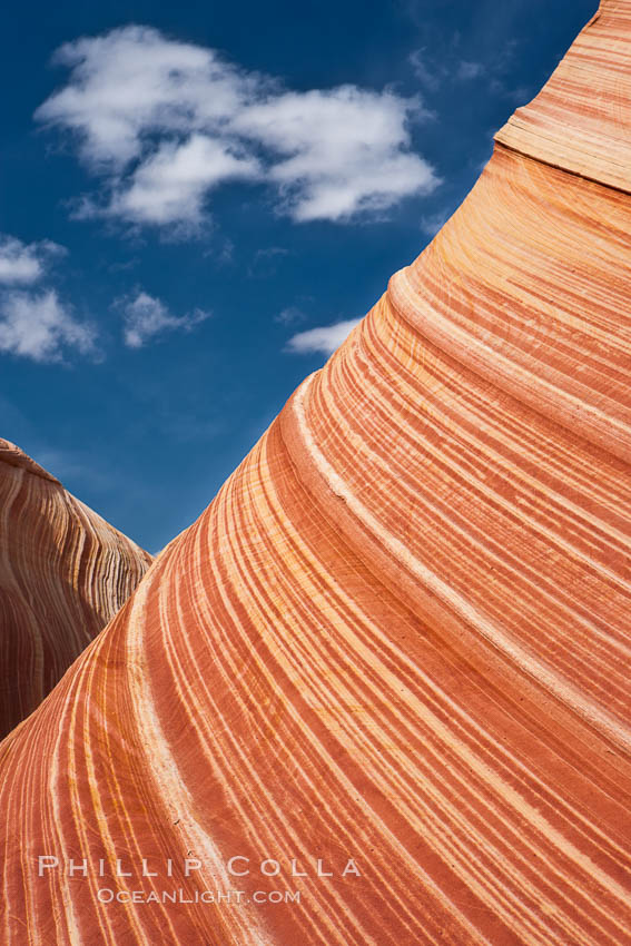The Wave, an area of fantastic eroded sandstone featuring beautiful swirls, wild colors, countless striations, and bizarre shapes set amidst the dramatic surrounding North Coyote Buttes of Arizona and Utah.  The sandstone formations of the North Coyote Buttes, including the Wave, date from the Jurassic period. Managed by the Bureau of Land Management, the Wave is located in the Paria Canyon-Vermilion Cliffs Wilderness and is accessible on foot by permit only.,  Copyright Phillip Colla, image #20623, all rights reserved worldwide.