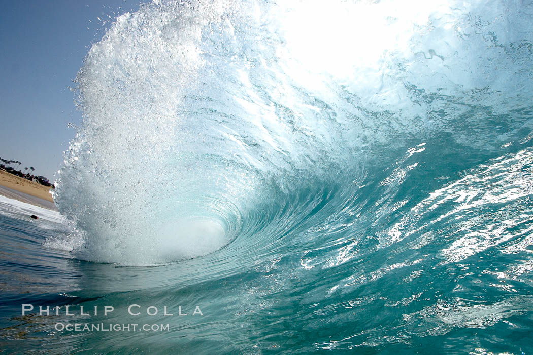 A wave, breaking with powerful energy, at the Wedge in Newport Beach, The Wedge