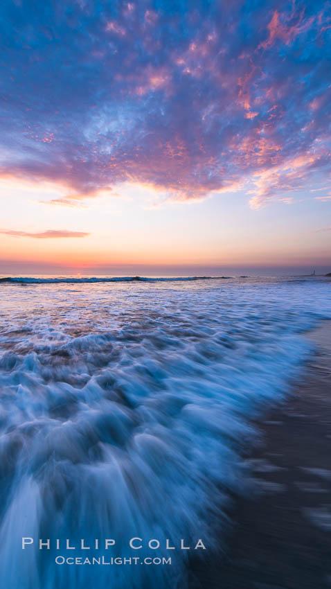 Waves rush in at sunset, Carlsbad beach sunset and ocean waves, seascape, dusk, summer. Carlsbad, California, USA, natural history stock photograph, photo id 27971
