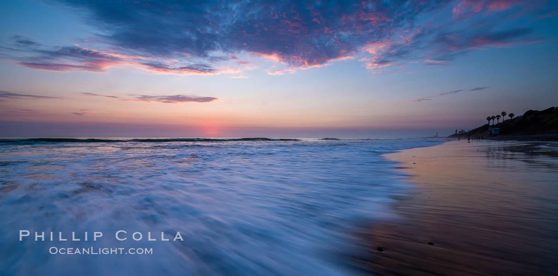 Waves rush in at sunset, Carlsbad beach sunset and ocean waves, seascape, dusk, summer. Carlsbad, California, USA, natural history stock photograph, photo id 27973