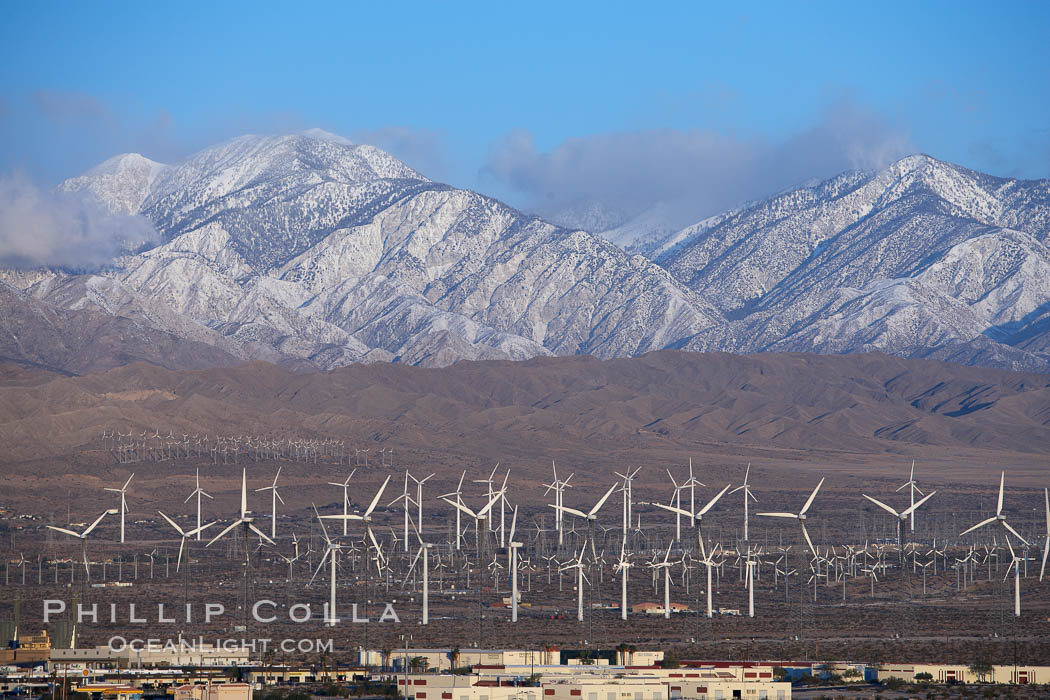 Wind turbines and Mount San Gorgonio Pass, near Interstate 10, provide electricity to Palm Springs and the Coachella Valley.,  Copyright Phil Colla, image #22236, all rights reserved worldwide.