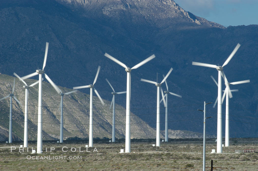 Wind turbines provide electricity to Palm Springs and the Coachella Valley. San Gorgonio pass, San Bernardino mountains. San Gorgonio Pass, Palm Springs, California, USA, natural history stock photograph, photo id 06869