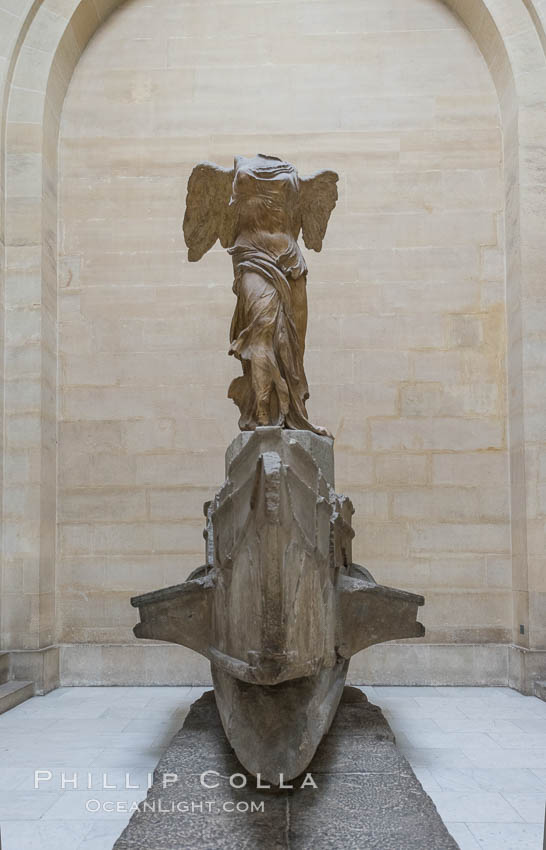 Image 28102, The Winged Victory of Samothrace, also called the Nike of Samothrace, is a 2nd century BC marble sculpture of the Greek goddess Nike (Victory). The Nike of Samothrace, discovered in 1863, is estimated to have been created around 190 BC. Musee du Louvre, Paris, France
