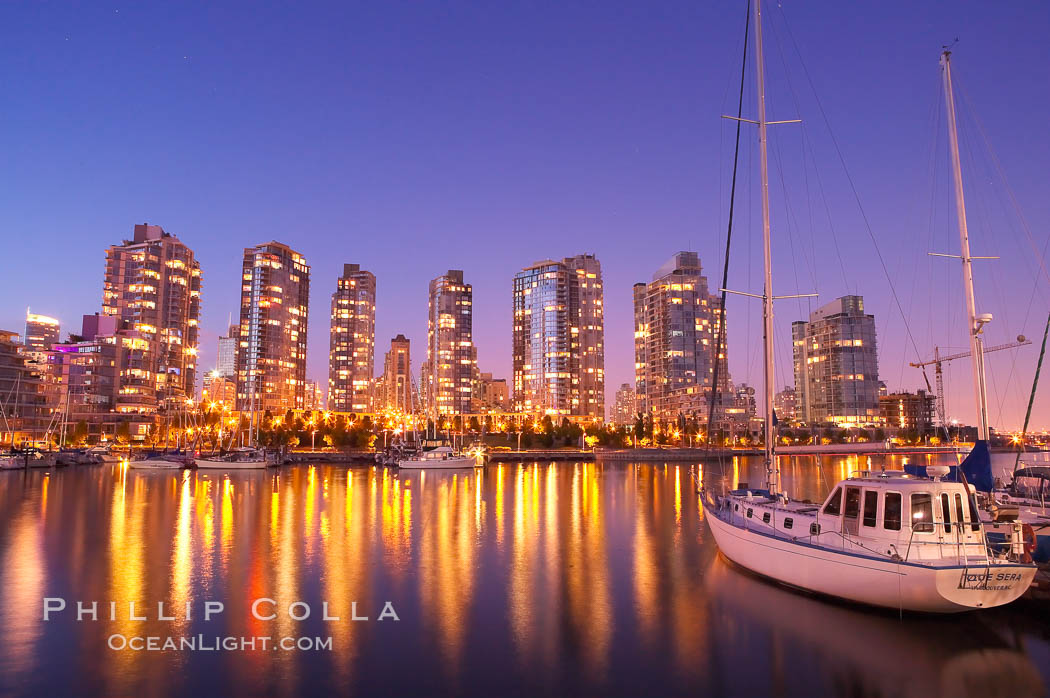 Yaletown section of Vancouver at night, viewed from Granville Island.,  Copyright Phillip Colla, image #21167, all rights reserved worldwide.