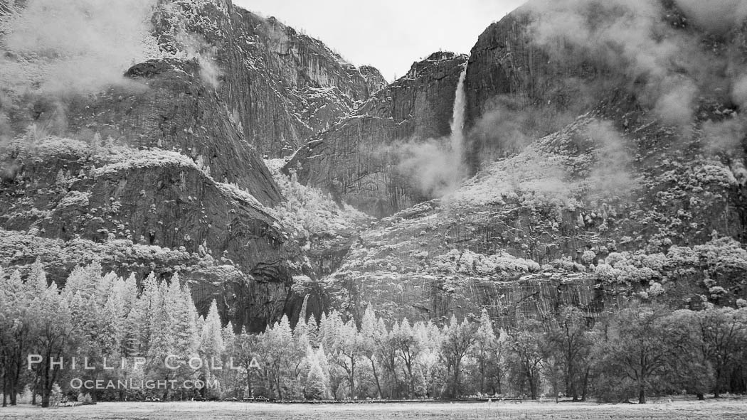 Yosemite Falls, mist and and storm clouds. Yosemite Falls, Yosemite National Park, California, USA, natural history stock photograph, photo id 22768