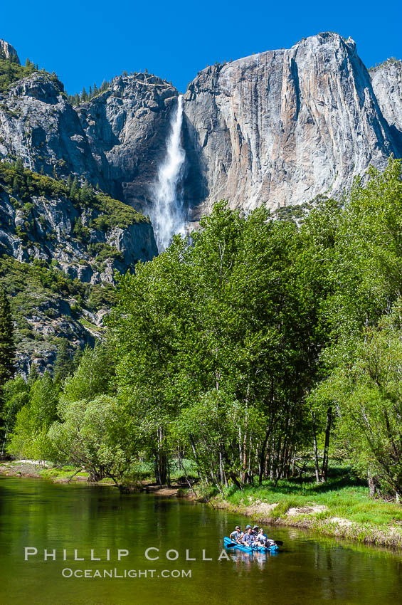 Rafters enjoy a Spring day on the Merced River in Yosemite Valley, with Yosemite Falls in the background, Yosemite National Park, California