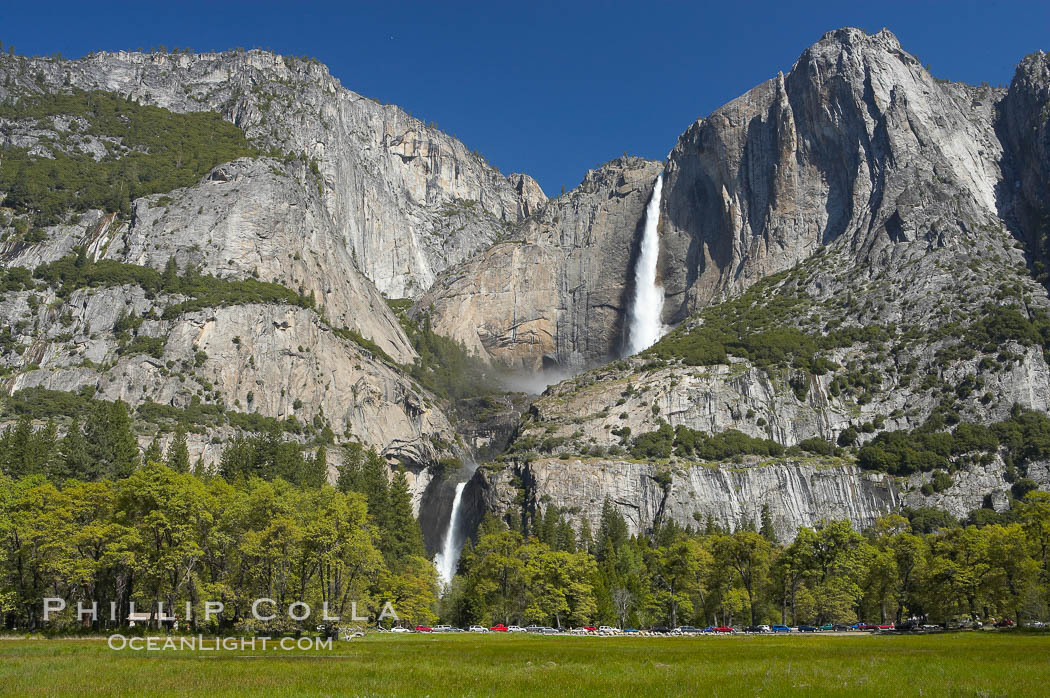 Yosemite Falls rises above Cooks Meadow.  The 2425 falls, the tallest in North America, is at peak flow during a warm-weather springtime melt of Sierra snowpack.  Yosemite Valley. Yosemite Falls, Yosemite National Park, California, USA, natural history stock photograph, photo id 16141