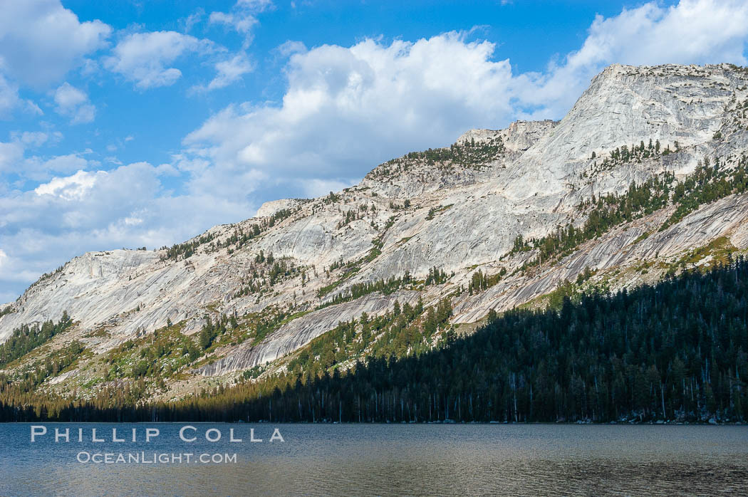 Tenaya Peak rises above Tenaya Lake near Tuolumne Meadows, Yosemite National Park, California