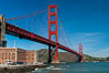 Golden Gate Bridge, viewed from Fort Point, with the Marin Headlands visible in the distance.  San Francisco. California, USA. Image #09052