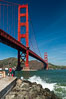 Golden Gate Bridge, viewed from Fort Point, with the Marin Headlands visible in the distance.  San Francisco. California, USA. Image #09057