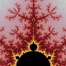 Detail within the Mandelbrot set fractal.  This detail is found by zooming in on the overall Mandelbrot set image, finding edges and buds with interesting features.  Fractals are complex geometric shapes that exhibit repeating patterns typified by <i>self-similarity</i>, or the tendency for the details of a shape to appear similar to the shape itself.  Often these shapes resemble patterns occurring naturally in the physical world, such as spiraling leaves, seemingly random coastlines, erosion and liquid waves.  Fractals are generated through surprisingly simple underlying mathematical expressions, producing subtle and surprising patterns.  The basic iterative expression for the Mandelbrot set is z = z-squared + c, operating in the complex (real, imaginary) number set. Image #10383