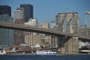 Brooklyn Bridge viewed from Brooklyn.  Lower Manhattan visible behind the Bridge. New York City, USA. Image #11064