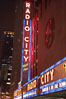 Radio City Music Hall, neon lights, night. New York City, USA. Image #11174
