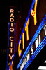 Radio City Music Hall, neon lights, night. New York City, USA. Image #11176