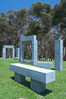 Stonehenge, or what is officially known as the La Jolla Project, was the third piece in the Stuart Collection at University of California San Diego (UCSD).  Commissioned in 1984 and produced by Richard Fleishner, the granite blocks are spread on the lawn south of Galbraith Hall on Revelle College at UCSD. University of California, San Diego, USA. Image #12846