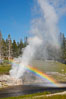 A rainbow appears in the spray of Riverside Geyser as it erupts over the Firehole River.  Riverside is a very predictable geyser.  Its eruptions last 30 minutes, reach heights of 75 feet and are usually spaced about 6 hours apart.  Upper Geyser Basin. Upper Geyser Basin, Yellowstone National Park, Wyoming, USA. Image #13367