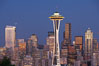 Seattle city skyline at dusk, Space Needle at right. Washington, USA. Image #13663