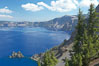 Crater Lake and Phantom Ship. Crater Lake is the six-mile wide lake inside the collapsed caldera of volcanic Mount Mazama. Crater Lake National Park, Oregon, USA. Image #13937