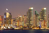 San Diego city skyline at dusk, viewed from Harbor Island, the Star of India at left. California, USA. Image #14529