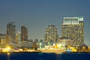 San Diego city skyline and cruise ship terminal at dusk, viewed from Harbor Island. California, USA. Image #14534