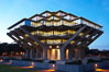 UCSD Library glows at sunset (Geisel Library, UCSD Central Library). University of California, San Diego, La Jolla, USA. Image #14775