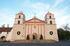 The Santa Barbara Mission.  Established in 1786, Mission Santa Barbara was the tenth of the California missions to be founded by the Spanish Franciscans.  Santa Barbara. USA. Image #14887