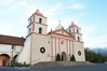 The Santa Barbara Mission.  Established in 1786, Mission Santa Barbara was the tenth of the California missions to be founded by the Spanish Franciscans.  Santa Barbara. USA. Image #14888
