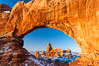 Turret Arch through North Window, winter, sunrise. Arches National Park, Utah, USA. Image #18120